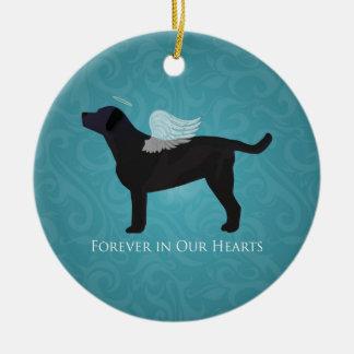 Black Lab Pet Memorial Sympathy Pet Loss Design Double-Sided Ceramic Round Christmas Ornament