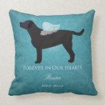 Black Lab Pet Memorial Sympathy Pet Loss Design Throw Pillows