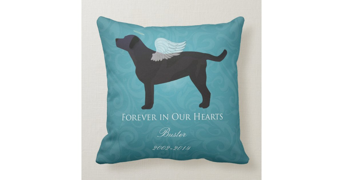 6985c9ee16fd Black Lab Pet Memorial Sympathy Pet Loss Design Throw Pillow | Zazzle.com