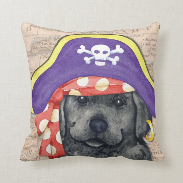Black Lab Throw Pillow : Black Lab Pirate Throw Pillow Zazzle