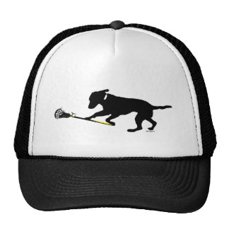 Black Lab Playing Lacrosse Trucker Hat