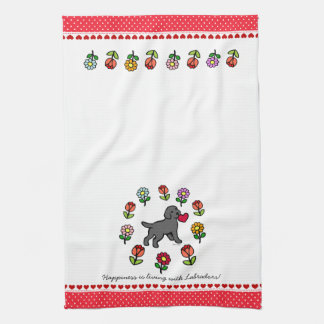 Black Lab Puppy and Red Heart Kitchen Towel