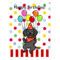 Black Lab Puppy Birthday Balloons Postcard