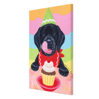 Black Lab Puppy Birthday Cupcake Painting canvas