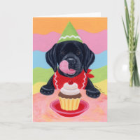 Black Lab Puppy Birthday Cupcake Painting Card
