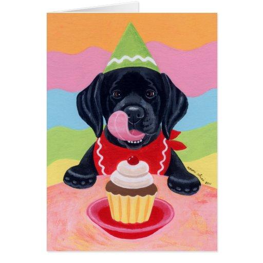 Black Lab Puppy Birthday Cupcake Painting Card