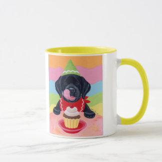 Black Lab Puppy Birthday Cupcake Painting Mug