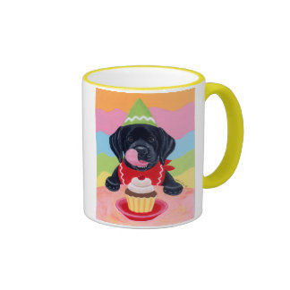 Black Lab Puppy Birthday Cupcake Painting Ringer Coffee Mug