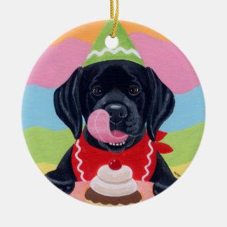 Black Lab Puppy Birthday Cupcake Painting Christmas Tree Ornament