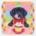 Black Lab Puppy Birthday Cupcake Painting Stickers