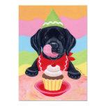 "Black Lab Puppy Birthday Invitations 5"" X 7"" Invitation Card"