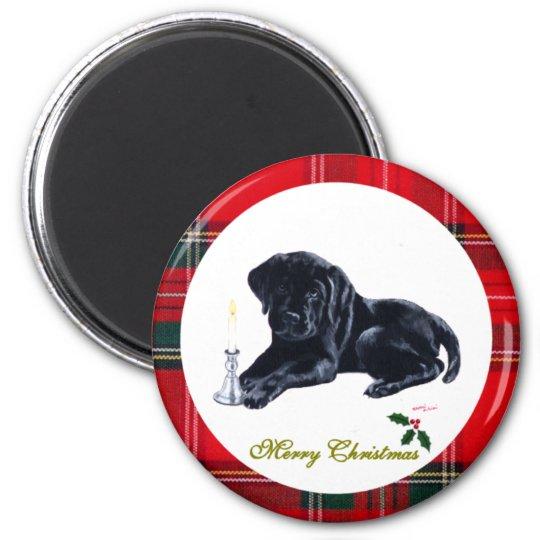 Black Lab Puppy Christmas Magnets
