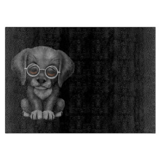 Black Lab Puppy Dog With Reading Glasses, black Cutting Board