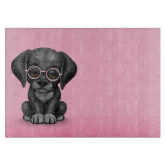 Black Lab Puppy Dog With Reading Glasses, pink Cutting Board