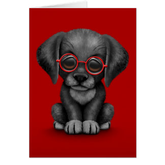 Black Lab Puppy Dog With Reading Glasses, red Card