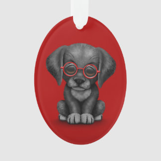 Black Lab Puppy Dog With Reading Glasses, red Ornament