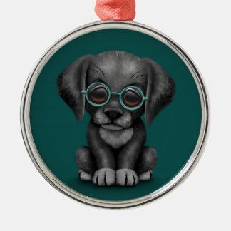 Black Lab Puppy Dog With Reading Glasses, teal Metal Ornament