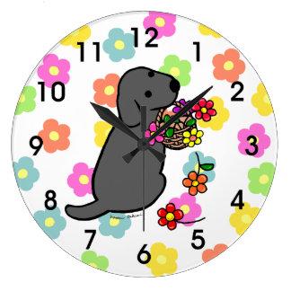 Black Lab Puppy Flower Basket Cartoon Large Clock
