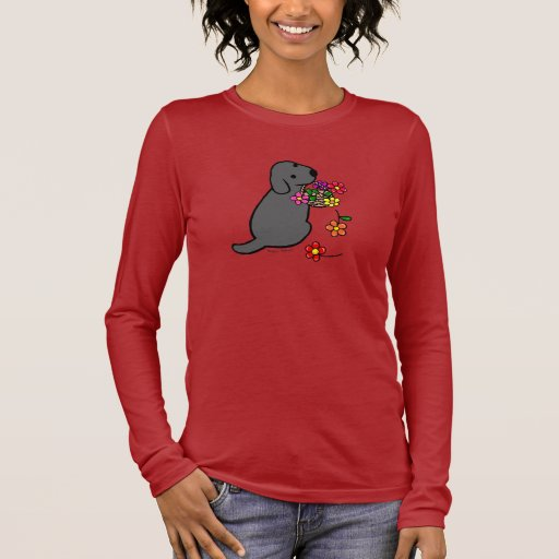 Black Lab Puppy Flower Basket Cartoon Long Sleeve T-Shirt