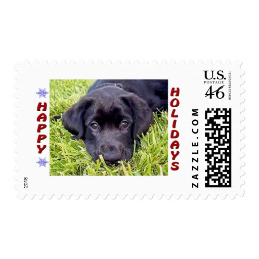 Black Lab Puppy Happy Holidays Sheet of 20 Stamps
