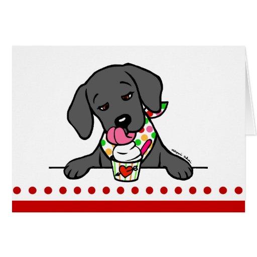 Black Lab Puppy Ice Cream Cartoon Card