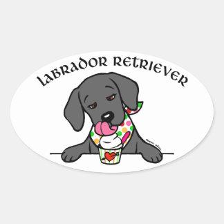 Black Lab Puppy Ice Cream Cartoon Oval Sticker