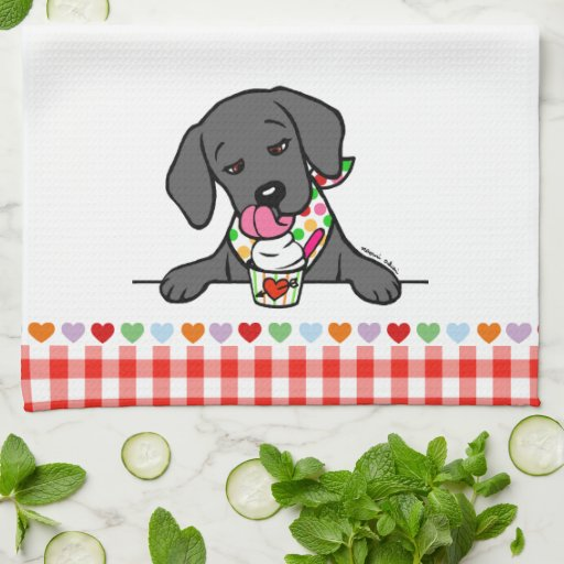 Black Lab Puppy Ice Cream Kitchen Towel