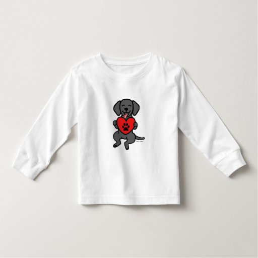 Black Lab Puppy Paw Print Heart Toddler T-shirt
