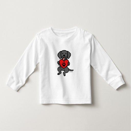 Black Lab Puppy Paw Print Heart Toddler T-shirt
