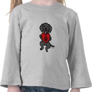 Black Lab Puppy Paw Print Heart Tees