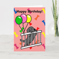 Black Lab Puppy & Puppy Gate 1 Cartoon Card