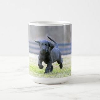 Black Lab Puppy Running Coffee Mug