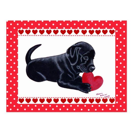 Black Lab Puppy Valentine's Day card