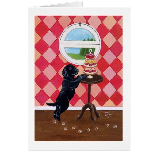 Black Lab Puppy with Cupcakes Greeting Card