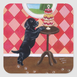 Black Lab Puppy with Cupcakes painting Square Sticker