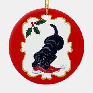 Black Lab Puppy with Santa Hat Ceramic Ornament