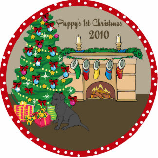Black Lab Puppy's 1st Christmas Ornament 2010