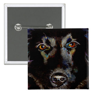 Black Lab Retriever art beautiful dog painting 2 Inch Square Button