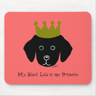 Black Lab Retriever Funny Cartoon Illustration Mouse Pad