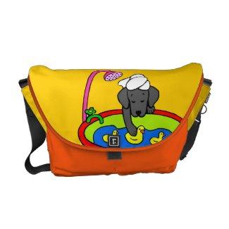 Black Lab & Rubber Ducks Cartoon Commuter Bags