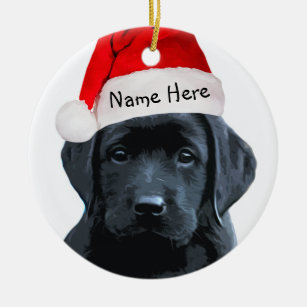 Black Lab Santa Christmas Ornament