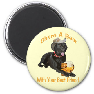 Black Lab  Shares A Beer 2 Inch Round Magnet