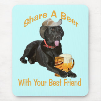 Black Lab  Shares A Beer Mouse Pad