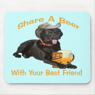 Black Lab  Shares A Beer Mouse Pads