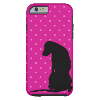 Black Lab Silhouette Pink Iphone 6 Tough Case
