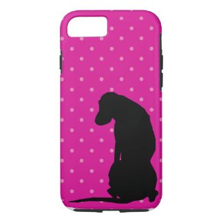 Black Lab Silhouette Pink iPhone 7 Tough Case