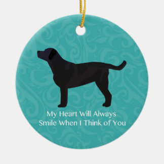 Black Lab Thinking of You Design Ceramic Ornament
