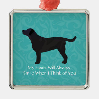 Black Lab Thinking of You Design Metal Ornament