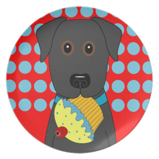 Black Lab with Blue Cupcake Plate