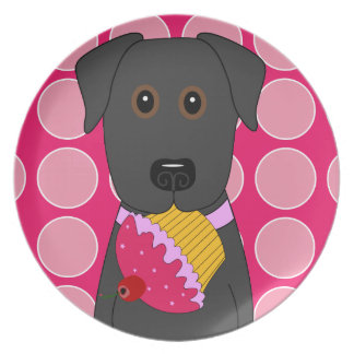 Black Lab with Pink Cupcake Plate